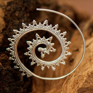 Silver Earrings - Silver Spiral Earrings - Gypsy Earrings - Ethnic Earrings - Silver Jewelry - Ethnic Jewelry - Gypsy Jewelry (Code: ES2)