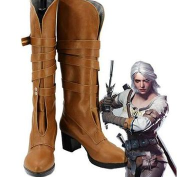 The Witcher 3 Wild Hunt Cirilla Cosplay Boots Shoes Costumes Accessories Halloween Party Boots for Adult Women High Heel Shoes