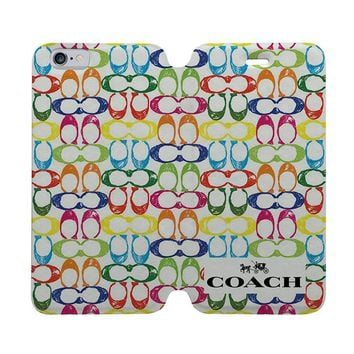 COACH NEW YORK COLOR Wallet Case for iPhone 4/4S 5/5S/SE 5C 6/6S Plus Samsung Galaxy S4 S5 S6 Edge Note 3 4 5