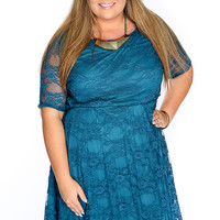 Teal Short Sleeve Floral Lace Overlay Plus Size Dress