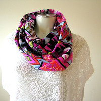 Aztec print Infinity Scarf, Boho Tribal Infinity Scarf, Women's loop scarf, gift for her, fashion accessory