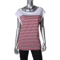 Nanette Lepore Womens Contrast Trim Striped Knit Top