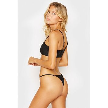Sara Ribbed Thong Bikini Bottom - Black