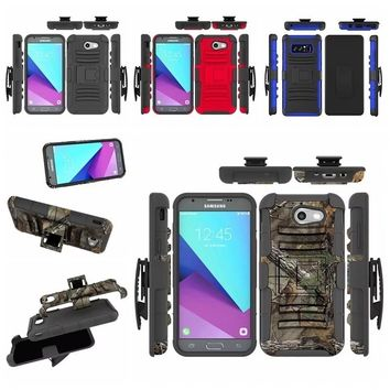 3 in 1 Rugged Shockproof Armor Case + Belt Clip Holster Kickstand Cover For iPhone X / Samsung J3 2017,J7 2017,Note 8,S8 active