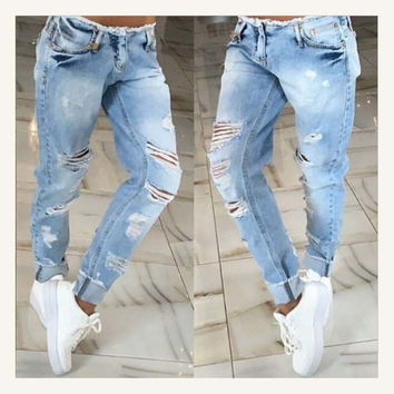 2016 new fashion style high quality women jeans low waist pencil pants Pockets regular Distressed women casual jeans