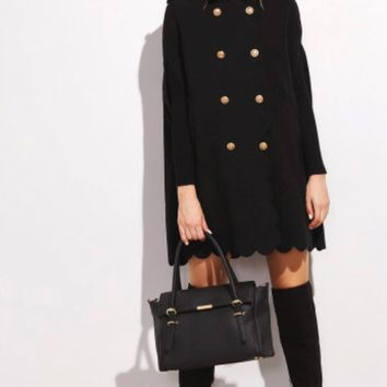 Double breasted Scalloped edge Peacoat- Black