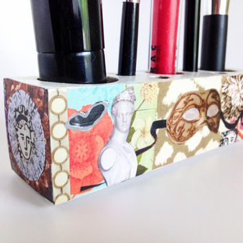 Makeup Brush Holder Decoupage Box