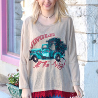 Jingle All the Way Vintage Truck Lace Trim Sweater Tunic
