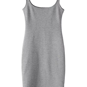 Gray Back Split Sleeveless Bodycon Dress