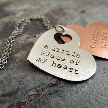 Personalized New Baby Necklace, Personalized Mother Necklace, New Mom Gift, Grandmother, A Little Piece of my Heart, Hand Stamped