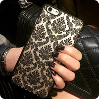 Hot Sale New Luxury Hard Plastic Case For iphone 6 6S 6 Plus 6s Plus Damask Vintage Flower Pattern Cover Case For  iPhone 6 6S