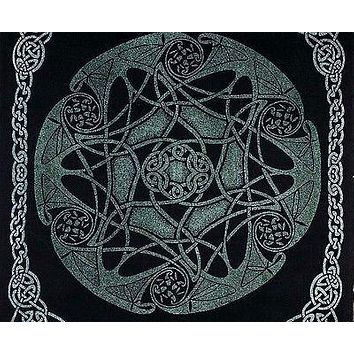 Heavy Celtic Wheel Tie Dye Tapestry Wall Hang Spread Green - Twin & Full