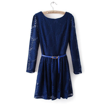 Autumn Simple Stylish Long Sleeve Round-neck Lace V-neck Dress [4917883396]