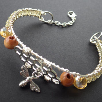 Bee Charmer- Bee Keeper Gift Idea- Honey Comb- Yellow Glass Crystals- Wooden Beads- Nature Inspired- Silver Wire-Wrapped Cuff Bracelet