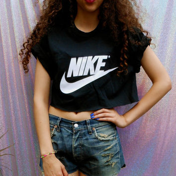 00c410d9310a5 classic black nike swag style crop top tshirt fresh boss dope celebrity  festival clothing