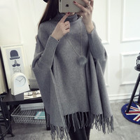 Poncho Turtle Neck Batwing Sleeve Tassels Hem Pullover and Sweater Loose Oversized Jumper M1139C