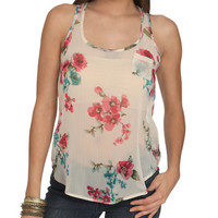 Floral Racerback Chiffon Tank | Shop Just Arrived at Wet Seal