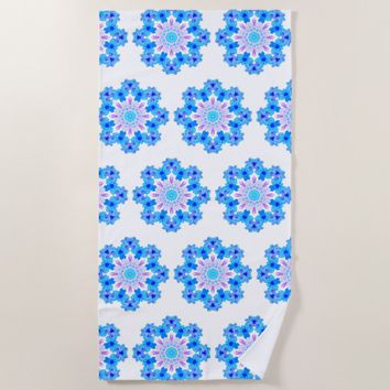 Flower Mandala Violet Blue Watercolor Floral Art Beach Towel
