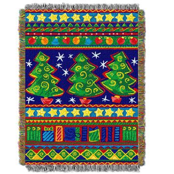 "Tree Festivity Licensed Holiday 48""x 60"" Woven Tapestry Throw  by The Northwest Company"