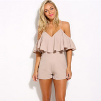 Fashion Solid Color Strap Backless Frills V-Neck Strapless Romper Jumpsuit Shorts