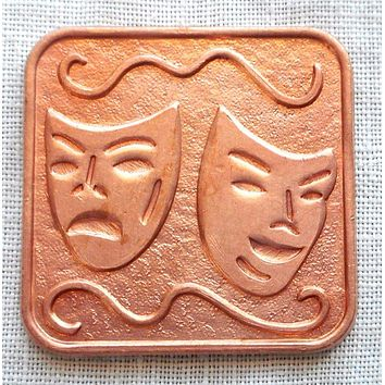 One red raw brass stamping, vintage theater masks, pendant, charm, 25mm x 25mm, USA made, C9501