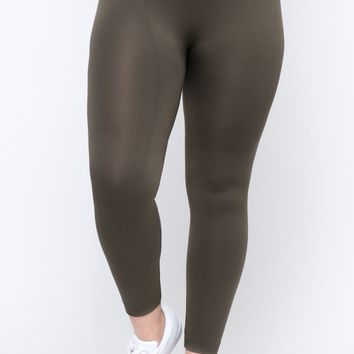 Plus Size Fleece Lined Seamless Leggings - Olive