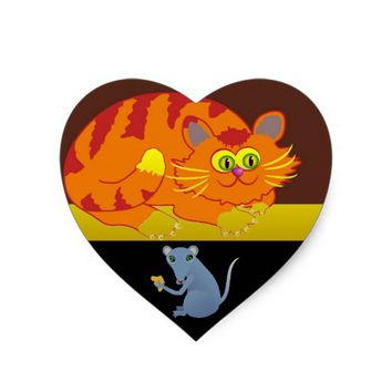 Cat & Mouse Heart Sticker