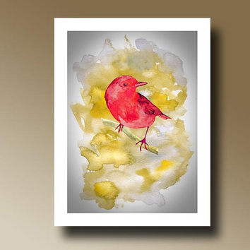 Print of Red Bird Watercolor Painting Wall hanging Decorative Art Home Decor 14015