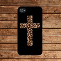 iphone 4 case,iphone 4s case--Leopard Cross ,in plastic or silicone