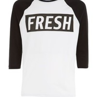 New Look Mobile | Monochrome Fresh Raglan 3/4 Sleeve Top