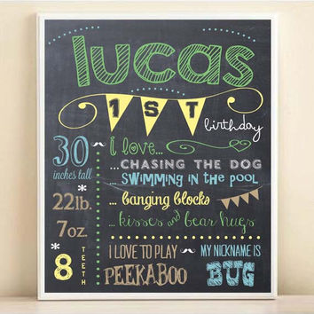 First Birthday Chalkboard Print with Personalized Typography in Custom Colors, 8x10 Poster