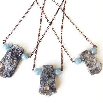 Geometric Necklace, pyrite aquamarine gemstone, antique brass chain - boho jewelry