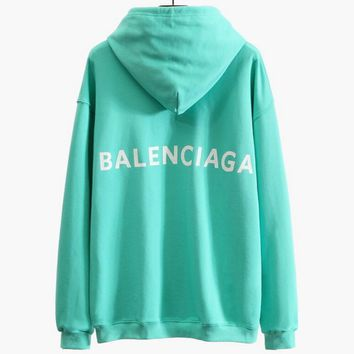 Hot Sale Balenciaga Loose Back Logo Print Long Sleeve Sweater Hoodies Pullover Top Mint Green