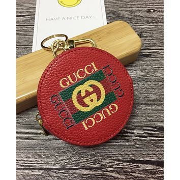 """GUCCI"" Trending Stylish Round Leather Zipper Key Pouch Wallet Coin Purse(5-Color) Red I-MYJSY-BB"