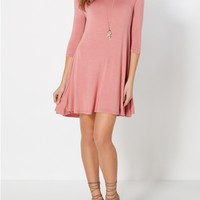 Dusty Pink Knit Tent Dress