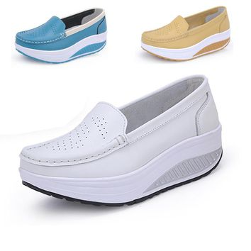 2015 spring genuine leather mother shoes swing shoes white nurse shoes slip-resistant
