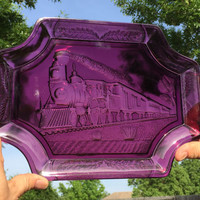 1882 Union Pacific Amethyst Colored Commemorative Bread Platter/Railroad Platter/Bread Tray/Train Memorabilia/Railroad Collectibles
