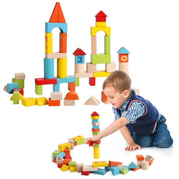 Baby 52 PCS Colorful Wooden Digital Building Learning Block Educational Set Toys
