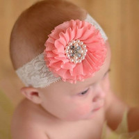 Chiffon flower headband - Pleated Chiffon Flower lace Headband - Baby Headband-Newborn - Girl Headband - pearl and rhinestone beaded flower