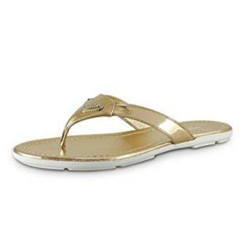 Prada Women's Patent Leather Sandals, Gold 1Y449F