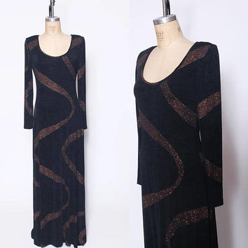 Vintage 80s Black & COPPER Evening Dress METALLIC Swirl Print Maxi Dress Black STATEMENT Gown