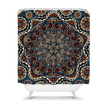 Mandala AZTEC Tribal Shower Curtain Flower Circle Floral Pattern Bathroom Bath Polyester Made in the USA