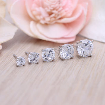 cubic zirconia stud earrings 925 sterling silver