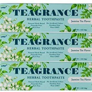 Teagrance Herbal Toothpaste Jasmine Tea Flavor Great Smell and Taste, Fluoride Free, SLS Free, Non GMO, Paraben Free, Oral Care with Herbs,Travel Size 1oz 3 Counts (TSA Safe $0 Shipping)