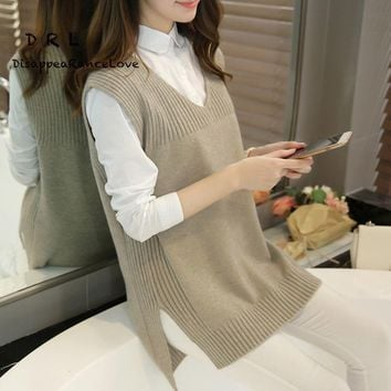 DRL Brand Spring and autumn female plus size sweater waistcoat outerwear medium-long V-neck loose sweater vest female