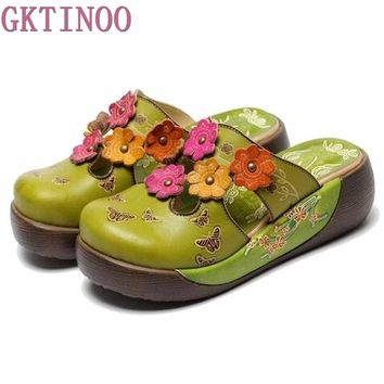 New Summer Women's Wedges Sandals Closed Toe Flower Ethnic Style Handmade Genuine Leather Personalized Women Slippers Shoes S289