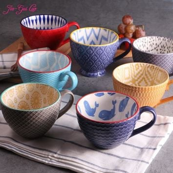 JIA-GUI LUO Ceramic hand painted coffee cup Creative vintage cup Cafe bar supplies Embossed personality breakfast cup G001
