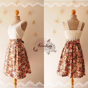 Vintage Inspired Lace w/Brown Floral Dress Floral Bridesmaid Dress Party Dress Homecoming Christmas Dress Autumn Dress Size XS-XL,Custom