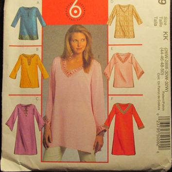 SALE Uncut McCall's Sewing Pattern, 5009! 26W-50 Plus Sizes/Women's/Misses/Loose Fitting  Long Sleeve Shirts/Blouses/Tops/Petite Tunics