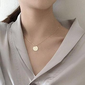 Sexy Clavicle Minimalist Necklace Women Fashion Jewelry Long Tassel Coin Tube Collares Bohemian Multilayer Necklaces Summer